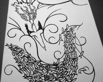 Gannets and herring - Original papercut art