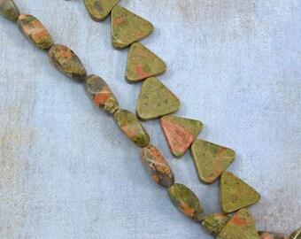 Unakite Stone Bead Mix 60% off, qty 25