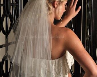 Two Tier Wedding Veil Elbow Length Veil with Scattered Swarovski Pearls - White, Diamond White, Ivory
