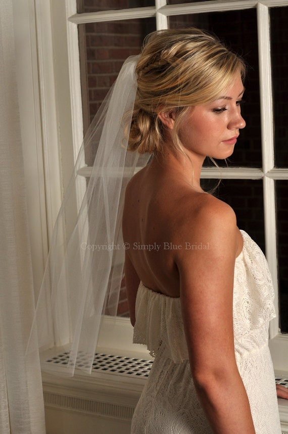 Wedding Veil - Elbow Length with Raw Cut Edge - READY TO SHIP - Champagne