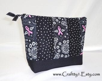 Breast Cancer Black Bandana Patchwork - Ladies Zip Pouch (MEDIUM)
