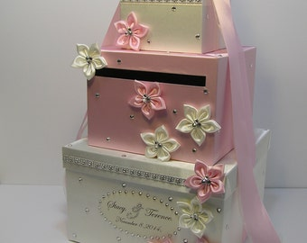 Wedding Card Box Ivory and light /Baby pink Gift Card Box Money Box  Holder--Customize your color