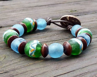 Green and Blue Recycled Glass Bracelet - Painted Green Recycled Glass Beads, Blue Recycled Glass Beads, Brown Leather Bracelet