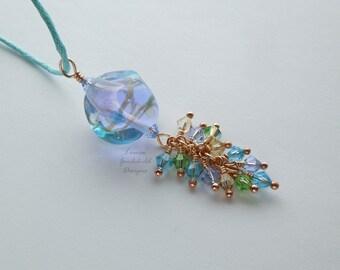 Giverny lampwork crystal necklace, aqua lilac green lampwork necklace, crystal necklace, bronze necklace