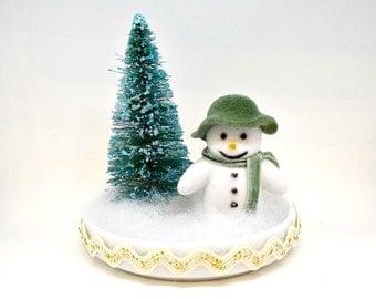 Snowman, Miniature Snowman, Christmas Decoration, Mantel, Christmas Decor, Holiday Decor, Tabletop, Christmas Tabletop, Kitsch, Diorama