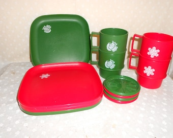 Tupperware Cups Plates coasters Red and Green Christmas set set of 4