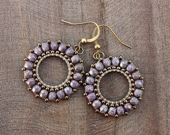 Lilac Gold Beaded Hoop Dangle Earrings, Beaded Hoops