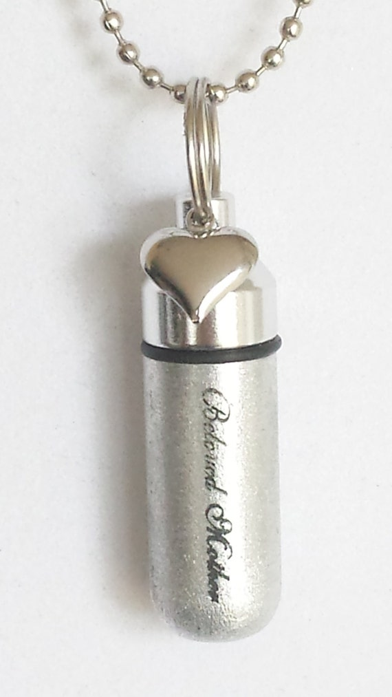 """Engraved """"Beloved Mother"""" with SIlver Heart  - Cremation Urn Necklace - Custom Hand Assembled.... with Velvet Pouch and Fill Kit"""