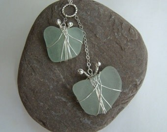 Butterfly Necklace - Seafoam Sea Glass Pendant - Sterling Silver Wire Wrapped