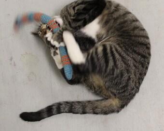 FREE SHIPPING Catnip Cat Toy SNAKE by Catopia9, Cetrified Organic Catnip, hand-crochet, High-Quality Pure Wool/bamboo yarn.
