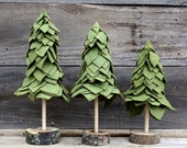 Felt Trees - Olive Green - Set of 3