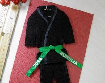 Martial Arts Personalized Ornament - Black Uniform- CHOOSE Your BELT COLOR - Karate Taekwondo Hapkido - Christmas Ornament