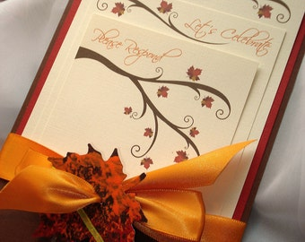 Seasons Of Love Wedding Invitation, Fall Wedding Invitation, Autumn Leaf Wedding  Invitation, Rustic