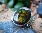 Canadian Rainbow Ammolite Sterling Silver Ring
