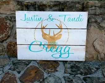 Personalized Barn Wood Sign, wood sign made with last name, a DEER,  and wedding date