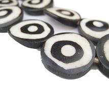 30 Batik Bone Beads - African Bone Beads - Eye Beads - Kenya Bone Beads - Jewelry Making Supplies - Made in Kenya + (BON-FLT-EYE-277)