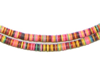 African Vinyl Beads - Phono Record Beads - 4mm African Beads - Recycled Beads Heishi - Jewelry Supplies - Made in Ghana (PHON-DISK-MIX-223)