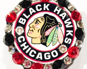 Chicago Blackhawks Swarovski Crystal Embellished Retractable ID Badge Reel