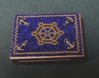 Beadwork decorative lighter holder, nautical Matchbox cover, Beadweaving, Fathers Day, birthday gift ship helm wheel