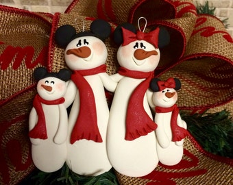 Personalized Mickey Minnie Snowman Family Polymer Clay Christmas Ornament