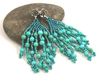 Aqua Blue Peacock Earrings . Fringe Earrings . Turquoise Beadweaving Earrings . Beaded Fringe . Turquoise Jewelry