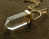 SPRING SALE 30% OFF Double Terminated Crystal Quartz Petite Point Pendant and Gold Fill Necklace
