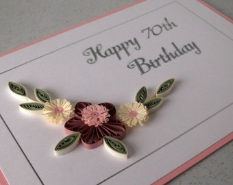 Quilled 70th birthday card, handmade, quilling design, can be for any age
