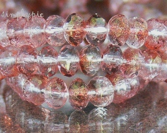 Crystal Rose Bronze Lumi Czech Donut Glass Beads 3x5mm 25 Faceted Rondelle Gemstone-Cut