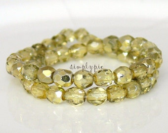 Jonquil Mirror, Czech Beads Fire Polished 4mm 50 Faceted Round GLass