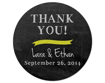 Personalized Wedding Stickers - Thank You Labels - Chalkboard Stickers - Favor Stickers - Casual Wedding - Choose Your Colors