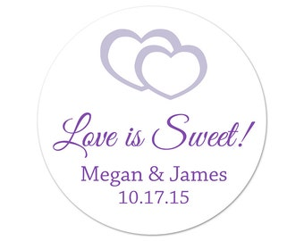 Personalized Wedding Stickers - Custom Labels - Love is Sweet - Wedding Favor Stickers - Modern Wedding - Favor Labels - Choose Your Colors