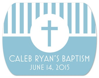 "Custom Baptism Stickers - Christening Labels - Mint Tin Labels - Personalized Favor Stickers - Cross Labels - 2"" x 1.6"""