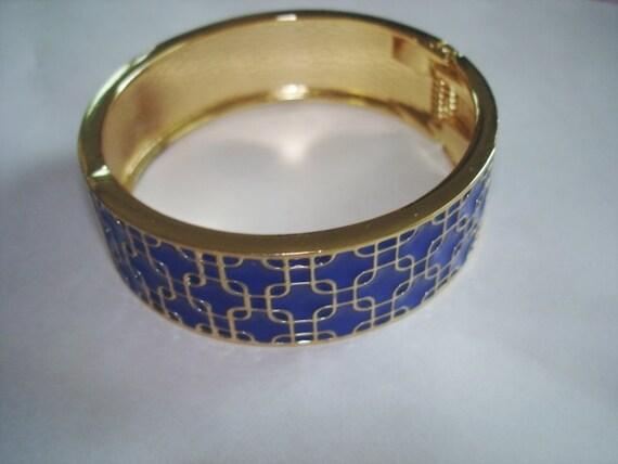 Basket Weaving Jewelry : Royal blue vintage basket weave jewelry gold by sanibelsands