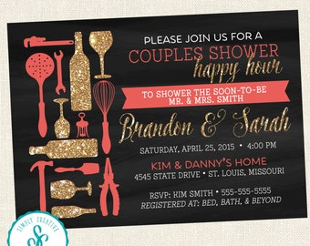 Bridal Shower Invitation - Couples Happy Hour Shower Invite