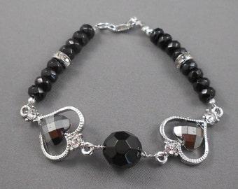 Black Heart Upcycled Earring Bracelet