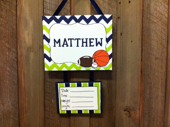 Sale sports nursery baby boy hospital door sign by for Baby boy hospital door decoration