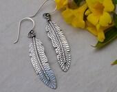 Sterling Silver Feather Dangle Earrings Wavy Pattern Handstamped
