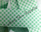 NEW ITEM----1.5 inch wide Grosgrain Ribbon----5 Yards----Mint Green and White----GINGHAM