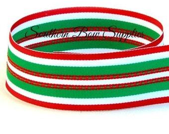 SALE----1.5 inch Grosgrain Ribbon-----3 Yards-----Stripes-----Emerald Green White Red------Hair bow Making Supplies