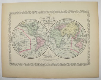 Old World Map, Eastern Hemisphere, Western Hemisphere Map 1858 Mitchell Map, Antique World Map, Vintage Decor Gift for Couple, Gift for Guy