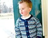 Baby Boy Sweater -- Handknit -- FRANKLIN STREET -- Childrens Clothing -- Cardigan -- Aqua and Gray