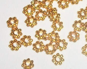 Value Pack -- 1000 Gold finished DAISY SPACERS -- 4mm jewelry findings