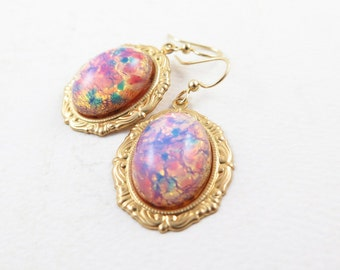 Vintage Harlequin Opal Earrings Gold Drop Earrings Pink Glass Opals Valentine Gift - Harlequin Romance