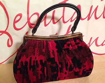 1960s Red and Black Graphic Velvet Chenille Purse