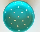 "POLKA DOT 4"" Magnetic TURQUOISE Pin Bowl with White Dots"