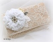 Wedding Clutch, Champagne, Ivory, Silver, White, Bridal, Handbag, Purse, Mother of the Bride, Bridesmaids, Lace, Pearls, Vintage Wedding
