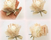 Boutonniere, Wedding, Button Hole, Groomsmen, Groom, Mother of the Bride, Corsage, Gold, Champagne, Ivory, Lace, Simple, Vintage Wedding