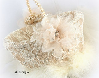 Flower Girl Basket, Champagne, Gold, Ivory, Cream, Lace, Pearls, Crystals, Feathers, Vintage, Elegant, Gatsby Wedding, Elegant, Round Basket