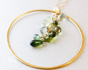 Gold Green Tourmaline Necklace - Shades of Green - 14K GF