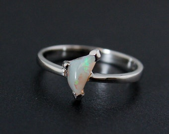 50% OFF SALE - October Opal Ring - Freeform Triangular Stone - Sterling Silver